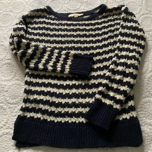 LOfT Navy and White Crocheted Sweater
